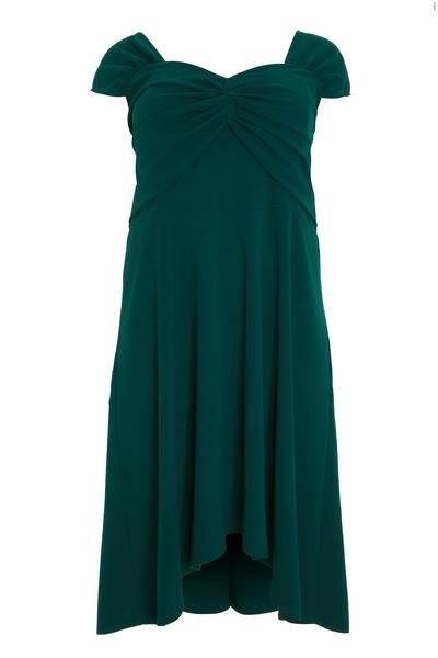 Curve Green Knot Front Skater Dress